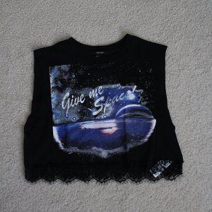 FOREVER 21 CROP TOP WITH LACE TRIM (small)